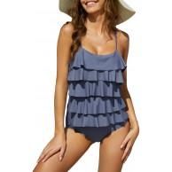 UNibelle Damen Einteiler Badeanzüge Bauchweg Bademode Volant Badeanzug Bekleidung