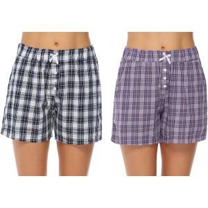 Aibrou Schlafanzughose Damen Kurz Karierte Pyjama Hose Baumwollshorts Nachtwäsche Hose für Sommer Bekleidung