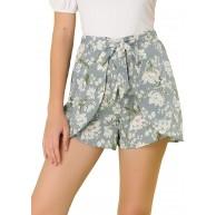 Allegra K Damen High Waist Lace Up Blumen Kurze Hose Shorts Bekleidung