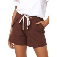 CLOUSPO Damen Bermuda Shorts Strand Shorts Leinenshorts Sommer Casual Kurze Hose M Dunkel Bekleidung