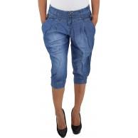 Damen Capri Shorts Sommerhose Bermuda 3 4 Jeans Kurze Hose Stretch Hüftjeans Blau Bekleidung