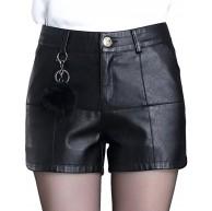 DISSA F6903 Damen Große Größe Hohe Taille Kunstleder Shorts Leder Kurze Hose Bekleidung
