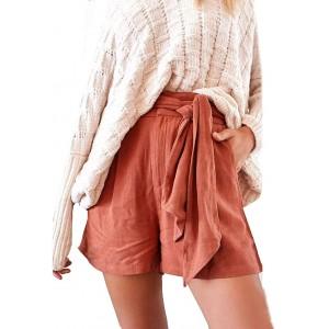 FRAUIT Shorts Damen Sommer Leinenshorts Bermuda Lockere Kurze Hose Hot Pants Freizeithose 100% Leinen Shorts Elegante Haremshose mit Knöpfen Sommer Strand Bekleidung