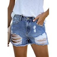 HOTAPEI Damen Lochjeans Shorts Bekleidung
