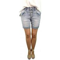 Jewelly by Lexxury | Damen Denim Shorts | Kurze Jeans Hose| mit dekorativer Knopf Leiste und Aufschlag | Bermuda für Frauen | Perfekter Sitz mit Stretch Denim XS-34 Bekleidung