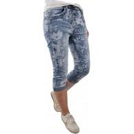 Jewelly Damen Denim Bermuda Capri Hose| Kurze Jeans Hose mit Blumen oder Blüten Print Bekleidung