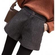 Kurzer Rock Damen Kariert Wolle Kurze Frauen Vintage Karierte Wollshorts Weibliche Lässige All-Match-Shorts Bekleidung