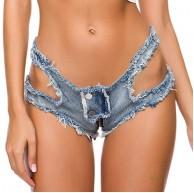 NINGSANJIN Damen Jeans Shorts Sexy Hotpants Low Waist Taille Aushöhlen Reißverschluss Kurz Denim Hose Frauen Sommer Nachtclub Party Destroyed Ultra-Shorts Bekleidung