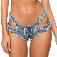 NINGSANJIN Damen Jeans Shorts Sexy Hotpants Low Waist Taille Aushöhlen Reißverschluss Kurz Denim Hose Frauen Sommer Nachtclub Party Destroyed Ultra-Shorts Bekleidung