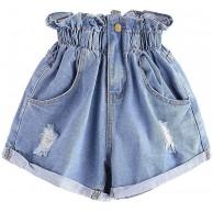 NTNY3 Damen Jeans Shorts Mit Denim Freizeithosen Elastische Taille Sommer Hosen Mit Taschen Kurze Hose Bekleidung