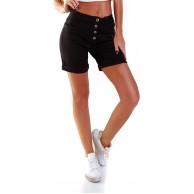 OSAB-Fashion 35854 Damen Jeans Bermuda Hose Boyfriend Baggy Denim Shorts Knopfleiste Bekleidung