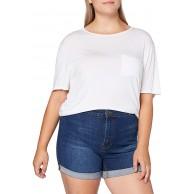 Urban Classics Damen Ladies 5 Pocket Slim Fit Denim Kurze Hose Shorts mid Indigo Washed 28 Bekleidung
