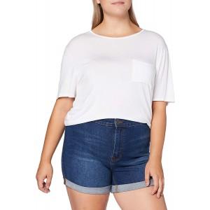 Urban Classics Damen Ladies 5 Pocket Slim Fit Denim Kurze Hose Shorts mid Indigo Washed 29 Bekleidung