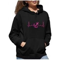 BlingelingShirts Damen Hoodie Kapuzenpullover Glitzer EKG Heartbeat Herzschlaglinie Anker in pink Hafen Schiff Bekleidung