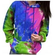 carol -1 Tie Dye Pullover Hoodie für Damen Kapuzenpullover Oversize Hoodie Gedruckt Patchwork Sweatshirt Langarm Crop Pullover Tops Bluse Batik-Optik Bekleidung