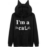 Damen Katzenohren schwarz Hoodie Cat Ohren Pullover Pulli Kapuzenpullover Frauen Mädchen Hoody Schlafende Katze I am a cat lustig Katzenbart Mehrere Muster Kapuzenpulli Langarm Oversize Sweatshirt Bekleidung