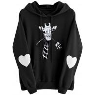 Damen Langarm Herz Giraffe Print Hoodie Sweatshirt Pullover Kapuze Pullover Tops Bluse Bekleidung