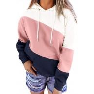 Dresswel Damen Farbblock Hoodie Sweatshirt Gestreifte Kapuzenpullover Langarm Pullover Shirt Kordelzug Kapuzenpulli Oberteil mit Taschen Bekleidung