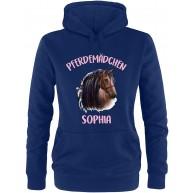 EZYshirt® Pferde Aufdruck mit Wunschnamen | Pferdemädchen Pullover Damen | Frauen Kapuzenpullover | Hoodie Bekleidung
