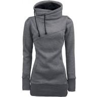 Honestyi Damen Pullover Sweatshirt Damen Frauen Kapuzenpullover mit Hohem Kragen Feste Sweatshirt Pullover Tops Slim Fit PulloverKleid Bekleidung