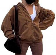 laamei Damen Sportjacke Hoodie Frühlingsjacke Hip Hop Boyfriends Stil Sweatjacke Übergangsjacke Vintage Kapuzenjacke Streetwear mit Reißverschluss und Taschen laamei Bekleidung