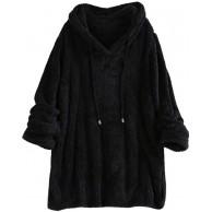 Lazzboy Sweatshirt Damen Kapuzenpullover Kapuzenpulli Künstlicher Wolle Pullover Pulli Langarmshirt Wollpulli Hoodie Tops Bekleidung