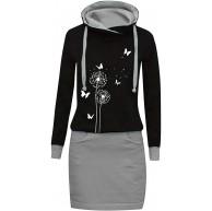 Minetom Hoodie Damen Kleid Patchwork Kapuzenpullover Herbst Winter Hoody Pullover Farbblock Lässig Sweatshirt Langarm Bekleidung