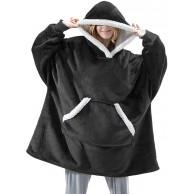 MoneRffi Hoodie Sweatshirt Damen Hoodie Giant Sweatshirt Oversized Sherpa Decke mit Tasche Super Soft Cosy Fleece Decke Kapuzenpullover für Erwachsene Herren Damen TeensB#Schwarz MoneRffi Bekleidung