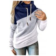 Onsoyours Kapuzenpullover Damen Kontrastfarbe Pulli Pullover Rollkragen Sweatshirt Kapuzenpulli Top Hoodies Bekleidung