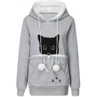 Riou Kapuzenpullover Damen Hoodie Katzen mit Große Kangaroo Carrier Tasche Winter Warme Wollpulli Sweatshirt Bekleidung