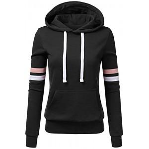 SALUCIA Damen Sport Hoodie Kapuzenpullover Sweatshirt Pullover Langarmshirt Pulli Tops mit Streifen Bekleidung