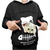 Sannysis Katzenpulli Damen Sweatshirt Hoodie Pullover Oberteile Langarmshirt Baumwolle Süßer Kapuzenpullover Outwear Sweater mit Katzen Hund Tasche Bekleidung