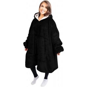 SEBOWEL Hoodie Sweatshirt Decke Sherpa Blanket Hoodie Oversized Damen Kapuzenpullover Weiche Warme Riesen Hoodie Taschen Pullover mit Kapuze for Erwachsene Männer Frauen Schwarz Bekleidung
