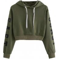 TWIFER Damen Buchstaben Langarmshirt Hoodie Crop Pullover Tops Sweater Sweatshirt Bekleidung