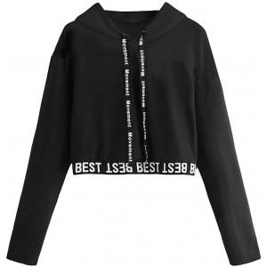 Y2K Crop Tops Damen Teenager Mädchen Langarmshirt Hoodie Frauen Sexy Bauchfrei Pulli Sweatshirt Langarm Shirts Kapuzenpullover Langarm T-Shirt Oberteil Bluse Tops Bekleidung