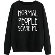 YUHX Normal People Scare Me Hoodie Damen Kapuzenpullover Frauen Pullover Langarm Sweatshirt Spruch drucken Oberteile Bekleidung
