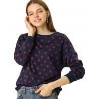 Allegra K Damen Langarm Crew Neck Polka Dots Sweatshirt Pullover Bekleidung