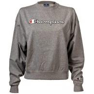 Champion Damen Sweatshirt - Crewneck Unifarben Logo-Print Rundhals Langarm XL Grau Bekleidung
