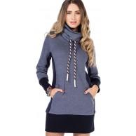 Cipo & Baxx Damen Longpullover Hoodie Sweatkleid Langarm Sweatshirt Kragen Bekleidung