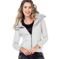 Cipo & Baxx Damen Sweatjacke Übergangsjacke Sweater Sweatshirt Freizeit Jacke mit Doppelkragen Indigo XL Bekleidung