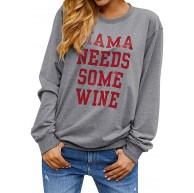 Dresswel Damen Mama Needs Some Wine Sweatshirt Rundhals Langarmshirt Mama Pullover Top Bluse Oberteile Bekleidung