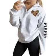 Dresswel Damen Mama Pullover 1 4 Zip Sweatshirt ohne Kapuze mit Stehkragen Pulli Leopardenmuster Langarmshirt Oberteile Bluse Bekleidung