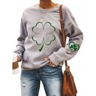 Dresswel Damen St Patricks Day Kleeblatt Pullover Rundhals Sweatshirt Langarmshirt Irland Shirt Oberteile Bluse Top Bekleidung