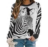 Dresswel Damen Zebra Grafikdruck Sweatshirt Farbblock Rundhals Langarmshirt Pullover Bluse Oberteile Bekleidung