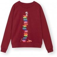 FellHerz Damen Sweater Books Girl Bio Fair GrößeXS FarbeBurgundy Bekleidung