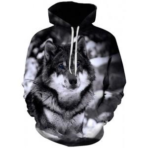 GEFANENR Unisex 3D Druck Hoodie Wolf Starrte Männer Frauen Liebhaber Langarm Shirt Sweater Jacke Mantel Wild Oberbekleidung Groß Neuheit Kapuzen-Sweatshirt Mit Tasche Bekleidung