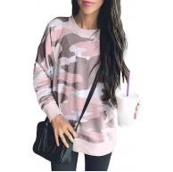 HenzWorld Damen Fleece Mantel Tops Langarm Einfarbig Sweatshirt Damen Rundhalsausschnitt Fuzzy Sherpa Pullover Bekleidung
