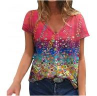 Higlles T-Shirt Damen Blusen Tops Loose Hemd Sweatshirt Langarmshirts Beste Freunde Pullover für Mädchen Frauen Kleider Bedrucktes Lässige Mode mit Lockerem Blumenmuster V-Ausschnitt kurzen Ärmeln Bekleidung