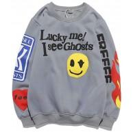 INSISTON Mode Langarm Drucken Tops Lucky Me I See Ghosts Sweatshirt Tops Bluse Gedruckt Sweatshirt Tops Bluse Brief Drucken Pullover Unisex Bekleidung