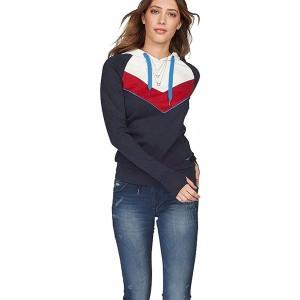Kangaroos Damen Sweatshirt Kapuze Hoodie Blockstreifen rot blau 32-34 Bekleidung